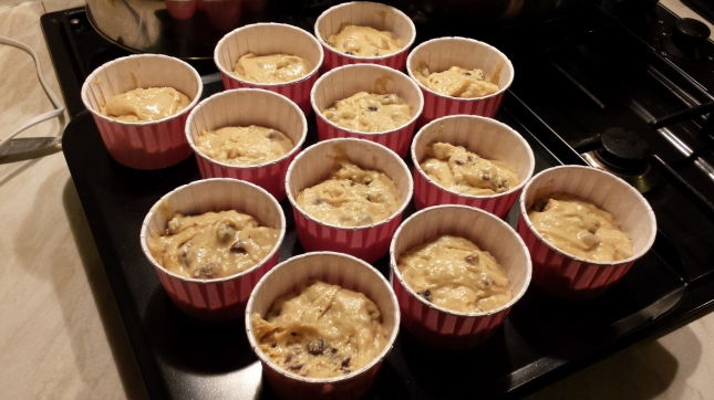 ...raw choc chip muffins on a VERY slippery tray...