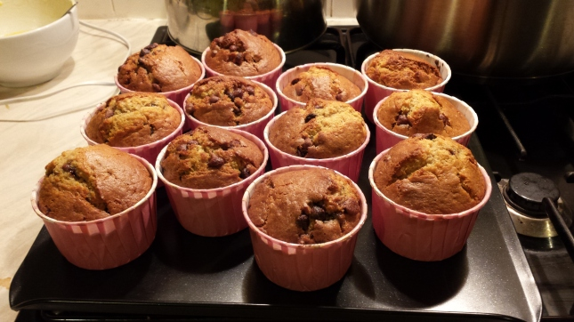 ...fluffy ooey gooey double choc chip muffins...
